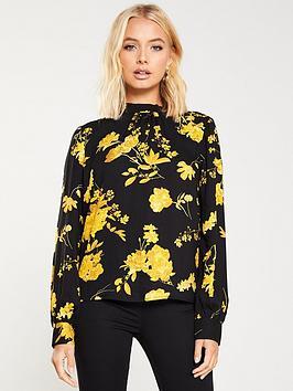 warehouse-wall-flower-high-neck-top-yellow