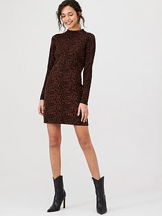 warehouse-animal-print-knitted-dress-chocolate