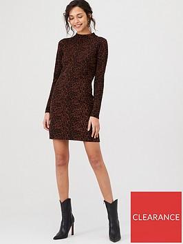 warehouse-animal-print-knitted-dress-chocolate