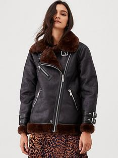 warehouse-oversized-faux-fur-aviator-coat--nbspchocolate