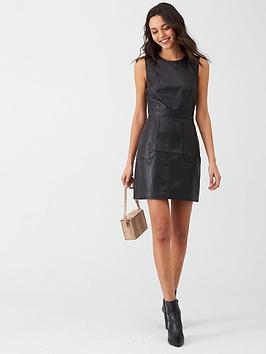 warehouse-pu-pinny-dress-black