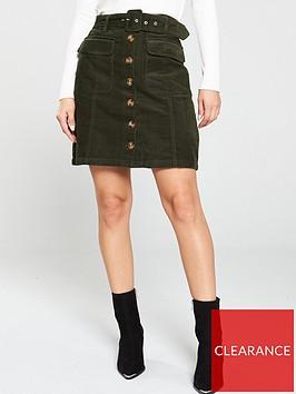 warehouse-belted-cord-mini-skirt-dark-green