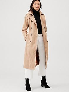 warehouse-contrast-check-classic-trench-beige