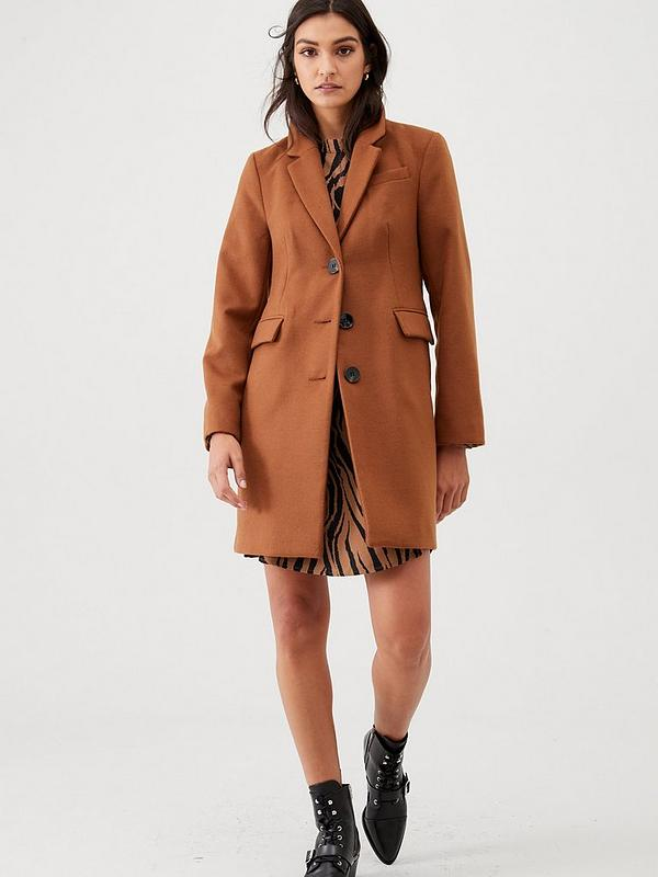 affordable price cheap for sale discount up to 60% Single Breasted Smart Coat - Camel
