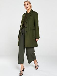 warehouse-single-breasted-smart-coat-khaki
