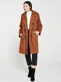 warehouse-faux-fur-double-breasted-teddy-coat-tobacconbsp