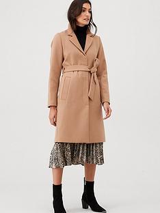 warehouse-clean-longline-belted-coat-tan