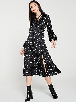 warehouse-pussy-bow-spot-dress-mono