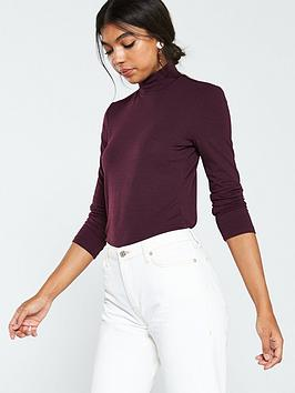 warehouse-knitted-funnel-neck-top-burgundy