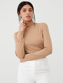 warehouse-knitted-funnel-neck-top-camel