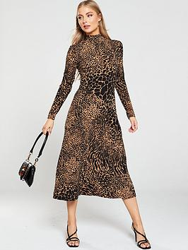 warehouse-animal-shadow-print-roll-neck-dress-brown
