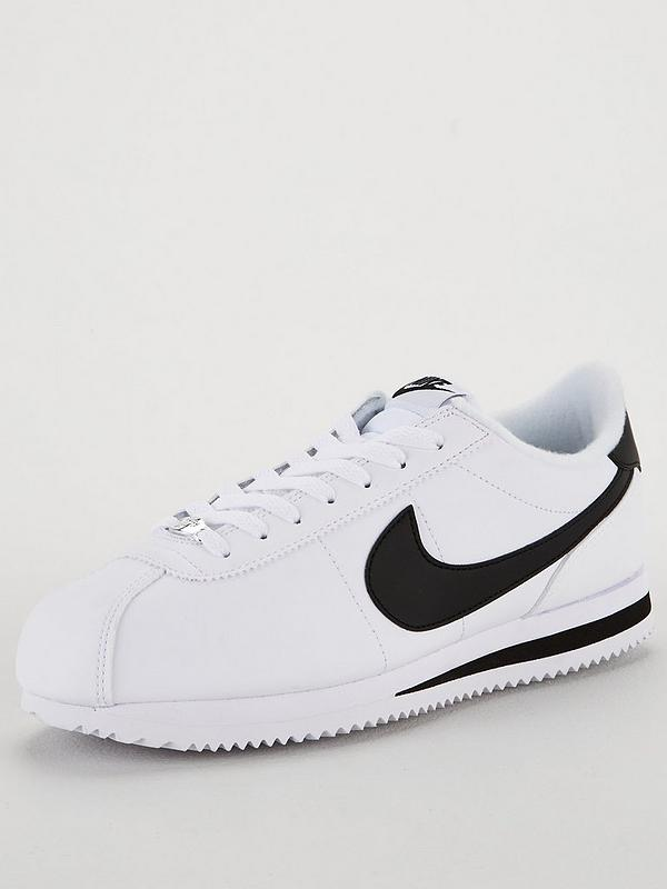 Exagerar borde Afilar  Nike Cortez Basic Leather - White/Black | very.co.uk
