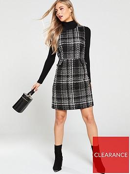 warehouse-sparkle-check-tweed-dress-mono