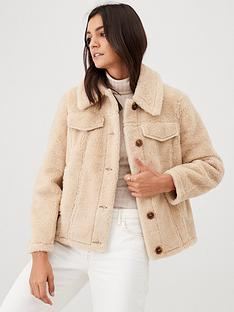 warehouse-teddy-coat-cream