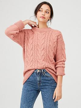 warehouse-big-cable-jumper-dusty-pink