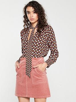 warehouse-geo-print-tie-neck-blouse-red