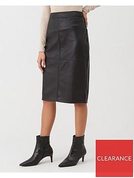 warehouse-seamed-detail-pu-midi-pencil-skirt-black