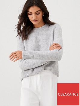 warehouse-cosy-crew-neck-jumper-grey