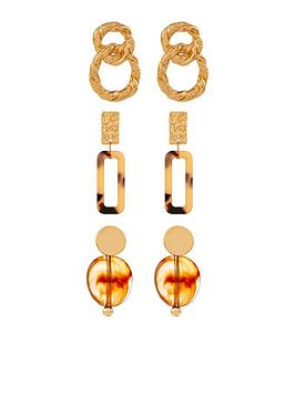 accessorize-resin-rectangle-earrings-set-gold
