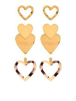 accessorize-heart-resin-earrings-set-3-pack-gold