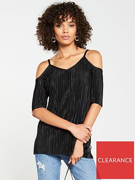 v-by-very-plisse-cold-shoulder-top-black