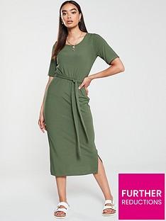 v-by-very-ribbed-belted-midi-dress-khaki