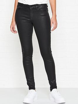 7 for all mankind the skinny coated slim illusion jeans - black