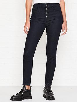 7 for all mankind aubrey exposed buttons slim illusion jeans - indigo