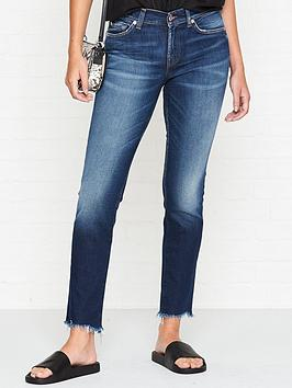 7 for all mankind roxanne mid rise crop distressed hem jeans - blue