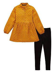 v-by-very-girls-2-piece-heart-print-shirt-dress-and-leggings-outfit-mustard