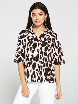 v-by-very-leopard-short-sleeve-utility-shirt-multi