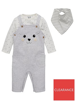 v-by-very-unisex-baby-3-piece-bear-dungarees-bodysuit-and-bib-set-grey-marl