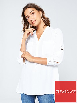v-by-very-double-pocket-notch-neck-relaxed-blouse-white