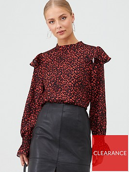 v-by-very-frill-spot-blouse-red