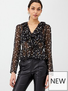 v-by-very-feather-lurex-twist-front-blouse-black