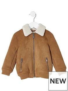 river-island-mini-mini-boys-faux-suede-bomber-jacket-brown