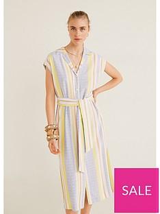 mango-stripe-tie-waist-dress-yellow