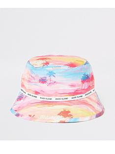 river-island-mini-mini-girls-palm-printed-bucket-hat-pink