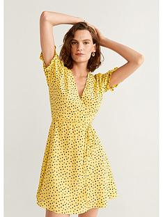 mango-polka-dot-wrap-dress-yellow