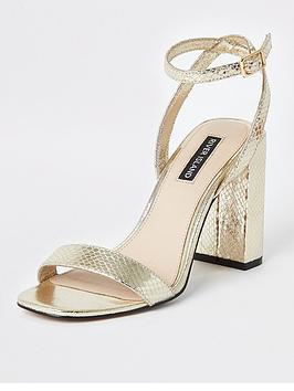river-island-river-island-metallic-two-part-heel-sandals-gold