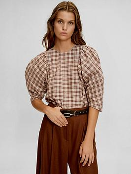 mango-puff-sleeve-check-blouse
