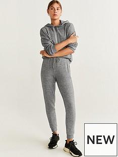 mango-soft-touch-flecked-hoodie-grey