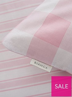 bianca-cottonsoft-bianca-pink-check-cotton-fitted-sheet