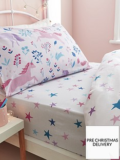 bianca-cottonsoft-woodland-unicorn-and-stars-cotton-fitted-sheet