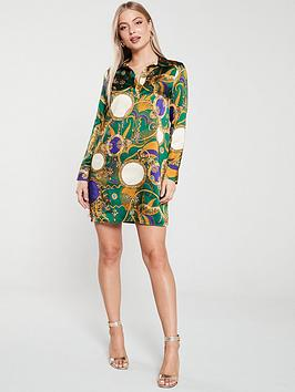 river-island-river-island-green-scarf-print-shirt-dress-green