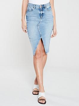 river-island-river-island-frayed-hem-denim-pencil-skirt-blue