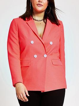 ri-plus-contrast-button-blazer-pink