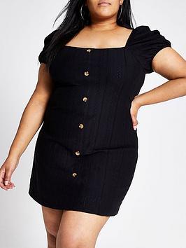 ri-plus-ri-plus-puff-sleeve-button-detail-dress--black