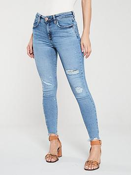 river-island-amelie-mid-rise-distressed-knee-super-skinny-jeans-blue