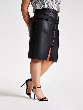 ri-plus-ri-plus-pu-zip-utility-pencil-skirt-black